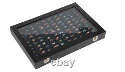 100 Slot Jewelry Display Case Ring Organizer Glass Top Storage Holder Box Tray