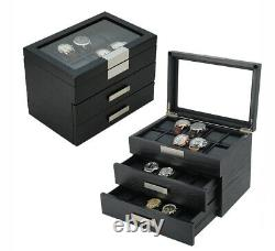 10 20 30 Slot Wrist Watch Black Oak Wood Storage Display Box Case Chest Cabinet