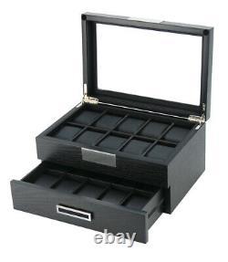 10 20 Wrist Watch Black Oak Wood Leather Storage Display Box Display Case