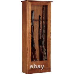 10 Gun Cabinet Rack Safe Stand Storage Brown Organizer Rifle Shotgun