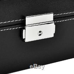 12 Slot Watch Box Leather Display Case Organizer Top Glass Jewelry Storage Black