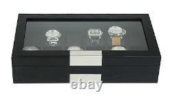 12 Slot Watch Storage Display Chest Box Case Black Oak Wooden Glass Top Cabinet