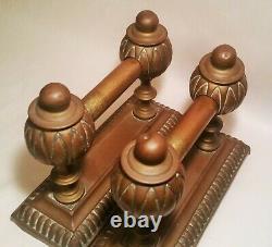 1800s DEPT. STORE DISPLAY CASE shelf riser antique cast iron brass vtg glass art