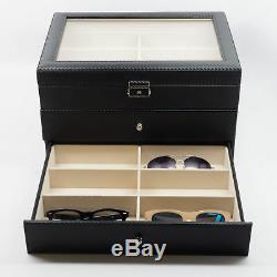 18 Black Carbon Fiber Drawer Eyeglass Sunglass Oversized Storage Display Case