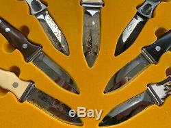 1977 A. G. Russell Knives Store Display Case With 7 Boot Double Edged Sting Knives