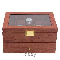 20-Slot Rosewood Watch Case Keep Display Tray Case Jewelry Storage Organizer Box