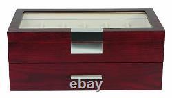 24 Oversized Extra Large Wood Watch Box Display Case Storage Jewelry Organizer