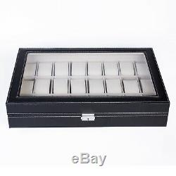 24 Slot Watch Winders Box Leather Display Case Glass Top Jewelry Storage Black