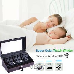 3 Motors Automatic Rotation 6+7 Watch Winder Storage Case Display Box US