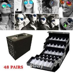 48 Slot Luxurious Eyeglasses Sunglasses Display Storage Organizerbox Lock Case