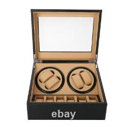 4+6 Automatic Rotation Watch Winders Display Boxes Storage Case PU Leather Black