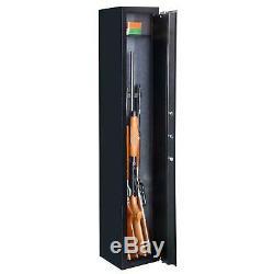 5 Rifle Gun Storage Safe Lock Cabinet Lockbox Case Fire Arm Steel Gun Case