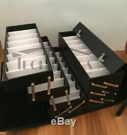 64 Slot Luxurious Black Eyeglasses Sunglasses Storage Organizer Display Case Box