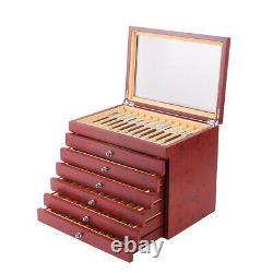78 Fountain Pen Wood plexiglass Display Box Organizer Storage Collector Box USA