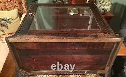 ANTIQUE OAK & GLASS STORE COUNTER TOP DISPLAY CASE FULL VIEW WithREAR OPENING DOOR