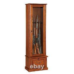 American Furniture Classics 8 Gun Key Locking Wooden Storage Display Cabinet