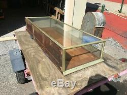 Antique 6 1/2' Nickel Plated Wood Glass Slanted Top Store Counter Display Case