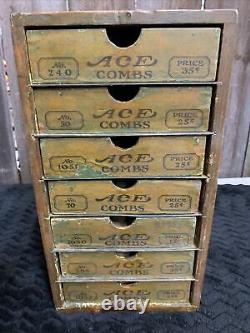 Antique Ace Combs General Store Display Wood Advertising Case Drawers (a3)