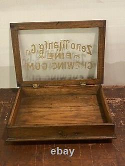 Antique Advertising Counter Top General Store Oak Display Case Zeno Chewing Gum