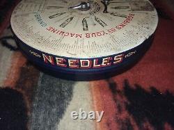 Antique Boye Brand Needles Shuttles Bobbins Store Display Cabinet w part cases