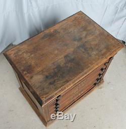 Antique Clarks ONT Advertising Six Drawer Oak Spool Cabinet Country Store Displ