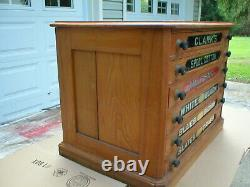 Antique Country Store Display Clarks Six Drawer Spool Cabinet, Very Nice Clean