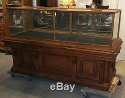 Antique Country Store Oak Counter Showcase great base Display Case