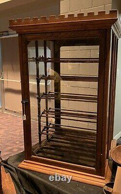 Antique General Store Showcase Ribbon Spool Sewing Cabinet Display Case NICE