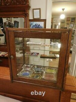Antique OAK ORIGINAL WAVEY GLASS COUNTRY STORE DISPLAY/SHOWCASE