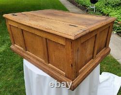 Antique Oak General Store Spool Cabinet 6 Drawer Lift Top J&P Coats
