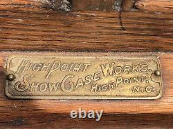 Antique Oak Glass General Store Display Showcase High Point Show Case NC
