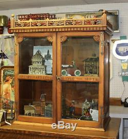 Antique P. Lorillard Tobacco advertising Countertop Store walnut Cabinet Showcas