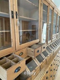 Antique Pine General Store display fixture Apothecary Cabinet Shelves Book Case