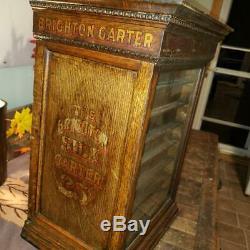 Antique Vintage Brighton Garter wood Cabinet Display 1900s General store