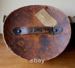 Antique Vintage Brown Leather Top Hat Case Box. Home Decor Storage. Shop Display