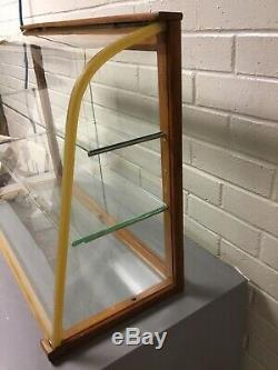 Antique Vtg Curved Glass Counter Top Store Display Case Waddell Co Glass Shelves
