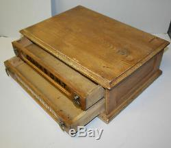 Antique Wooden Country Store Clarks ONT Spool Cotton Thread Oak Cabinet 2 Drawe