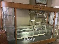 Art Deco Beauty Bar Curved Glass Bakelite Wood Store Display Cabinet 1940s