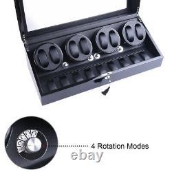Auto Rotation 8+9 Watch Winder Black Leather Display Storage Case Box