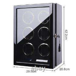 Auto Watch Winder Box 6 Watches Winder Storage Case withLCD Touch Screen Display