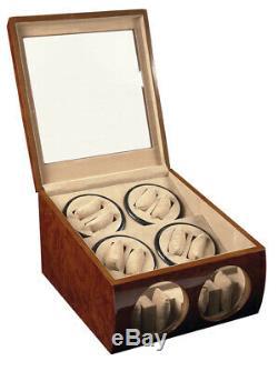 Automatic Watch Winder Burl Wood Dual Double Quad 8 + 4 Storage Display Case Box