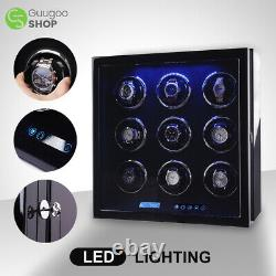 Automatic Watch Winder for 9 Watches Display Storage Case Box with Quiet Motor
