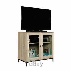 Curio Case Display Cabinet TV Stand Glass Doors Storage Organizer Accent Chest
