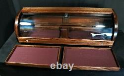 Curved glass display case African Mahogany with 2 removable trays plus storage