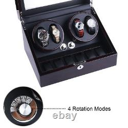 Ebony Leather Automatic Rotation 4+6 Watch Winder Storage Case Display Box USA