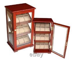 Elegant Watch Jewelry Display Storage Holder Case Glass Box Organizer Gift t4