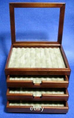 F/S Wooden Stationery Fountain Pen Case Display 40 Slot Collection Storage Japan