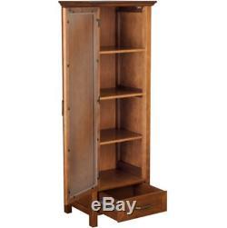 Floor Cabinet Curio Case Display Storage Drawer Glass Doors Oil Oak Finish NEW
