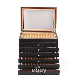 Fountain Pen Wood Display Case Organizer Storage Collector Box 6Layer for 78 Pen
