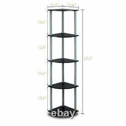 Furinno 5 Tier Corner Shelves Bookshelf Display Storage Vertical Case Black Grey
